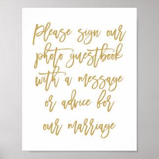 Pôster Guestbook indicado por letras da foto do casamento
