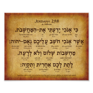 "Poster hebreu do 29:11 de Jeremiah (10"" x8"")"