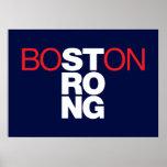 Poster Helvética forte de Boston em azuis marinhos