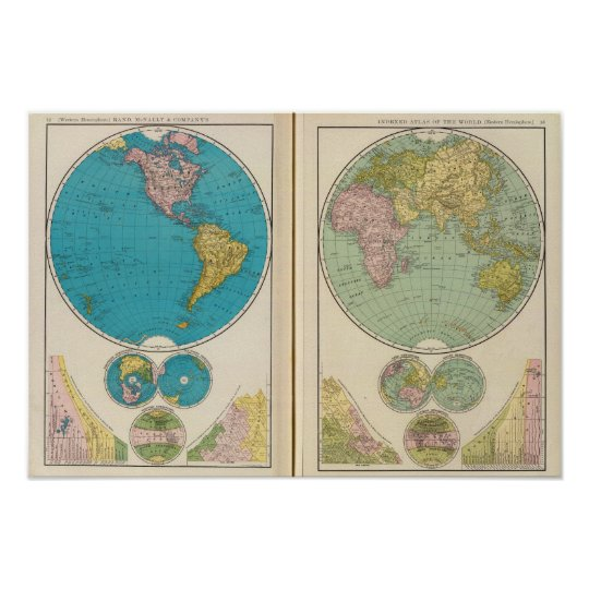 Pôster Hemisfério ocidental e oriental