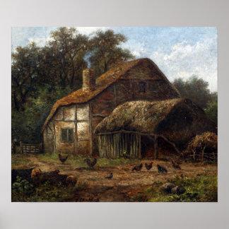 Pôster Hendrik Pieter Koekkoek Thatched o celeiro com
