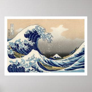 Poster Hiroshige - a grande onda fora de Kanagawa