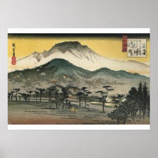 Poster Hiroshige - opinião da noite de um templo nas