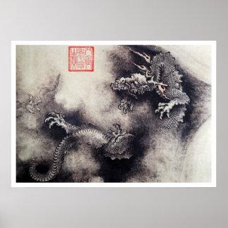 Pôster Hokusai - rolos do dragão