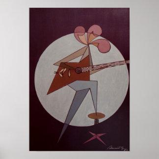 Poster Homem 1975 da guitarra