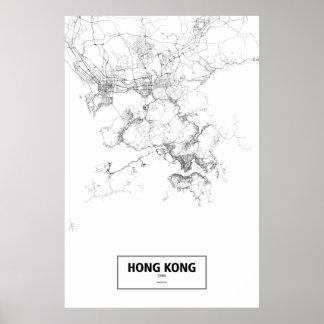 Pôster Hong Kong, China (preto no branco)