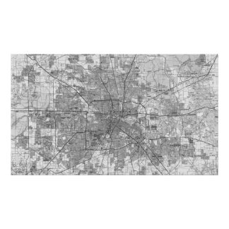 Pôster Houston Texas Mapa (1992) BW