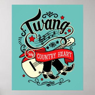 Poster ID464 vermelho/preto do Twang do país