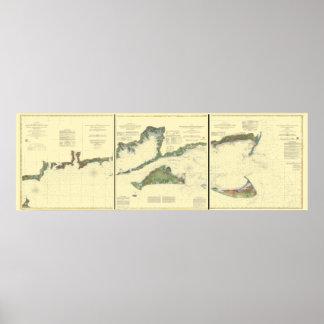 Pôster Ilha de bloco, baía do Buzzard, Nantucket e Martha