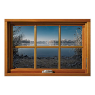 Poster Ilusão de madeira da janela do falso - opinião