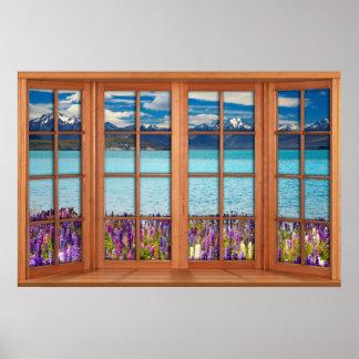 Pôster Ilusão falsificada da janela - lago mountain na