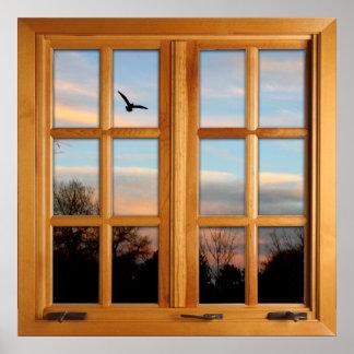 Pôster Ilusão quadrada da janela do falso - pássaro de