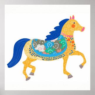 Pôster Ilustração azul da arte do cavalo