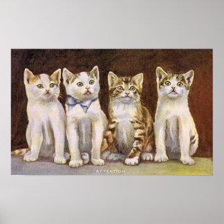Poster Ilustração bonito do vintage de quatro gatinhos