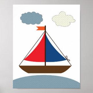 Poster Ilustração do barco do berçário para salas náutica