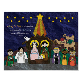 Poster Ilustração do vetor da cena da natividade do Natal