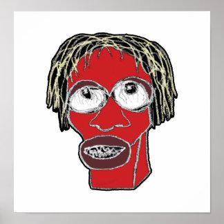Poster Ilustração grotesco da caricatura do homem