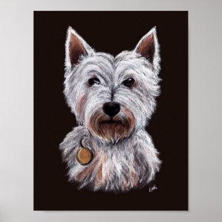 Pôster Ilustração ocidental do Pastel do cão de Terrier