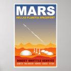 Poster Ilustração retro da viagem espacial de Marte