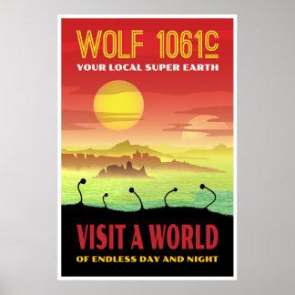 Poster Ilustração retro do viagem do lobo 1061c de