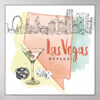 Pôster Imagem do esboço da aguarela de Las Vegas, Nevada