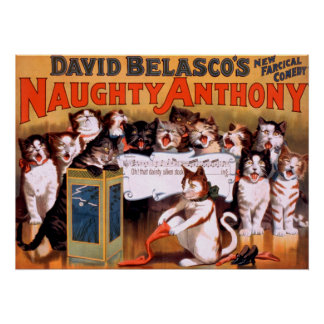 Poster impertinente dos gatos do teatro de Anthony