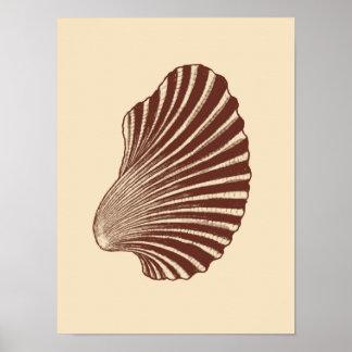 Poster Impressão, Brown e bege de bloco de Shell de