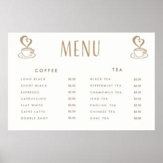 Poster impresso costume do menu do preço do bar do