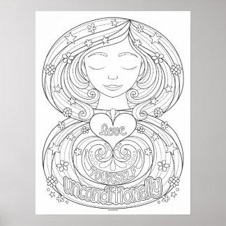 Poster incondicional colorindo do amor você mesmo