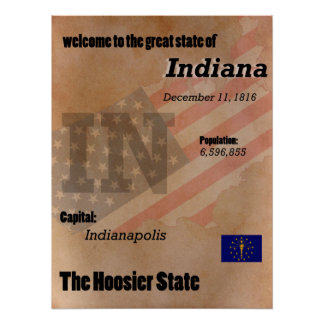 Poster Indiana o clássico do estado do Hoosier