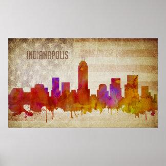 Pôster Indianapolis, na skyline da cidade da aguarela de