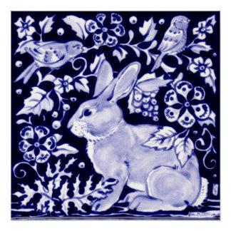 Pôster Índigo floral de Dedham do poster azul e branco do