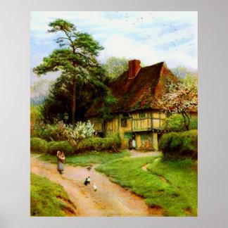 Poster inglês velho da casa de campo do país pôster