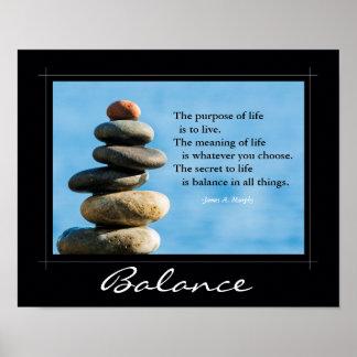 """Poster inspirado, """"equilíbrio em todas as coisas """" pôster"""