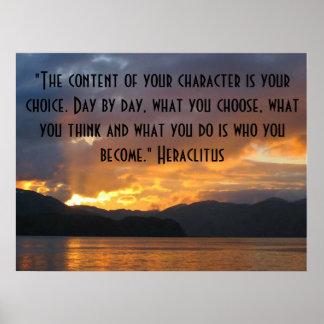 Poster inspirador com citações de Heraclitus