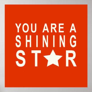 Poster inspirador da estrela alaranjada