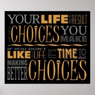 Poster inspirador das citações das escolhas