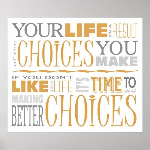 Poster inspirador das escolhas