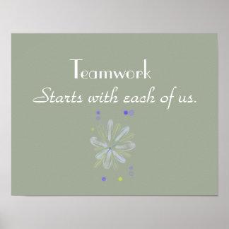 Poster inspirador dos trabalhos em equipe