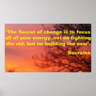 Poster inspirador sobre a mudança