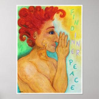 Poster interno da paz - desenho pastel do óleo
