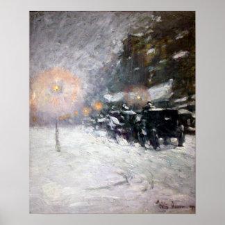Pôster Inverno de Childe Hassam, meia-noite