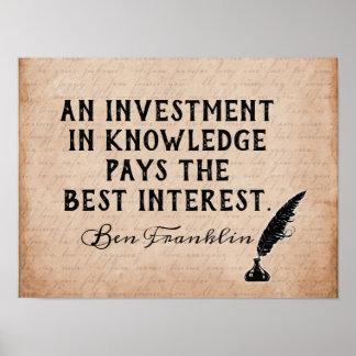 Pôster Invista no conhecimento - citações de Ben Franklin