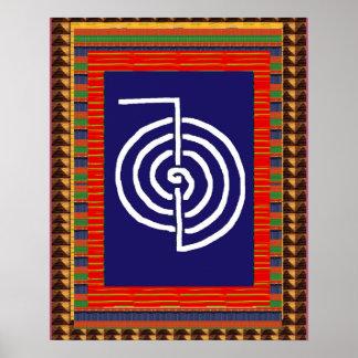 Poster Ioga da ARTE cura do símbolo de REIKI:  o cadeau