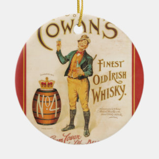 Poster irlandês do uísque de Cowan do vintage Ornamento De Cerâmica Redondo