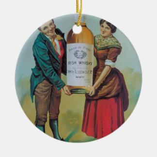 Poster irlandês do uísque do vintage original, em ornamento de cerâmica redondo