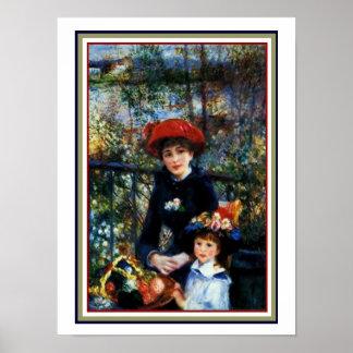 Poster Irmãs no terraço por Renoir 12 x 16