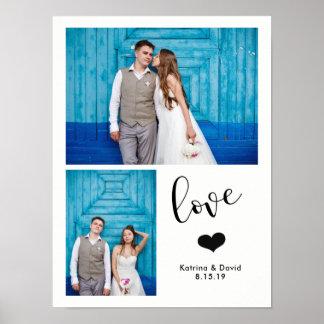 Poster | irrisório moderno casamento de duas fotos
