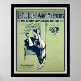 """Pôster Irving Berlin 'se você não quer meus pêssegos"""""""