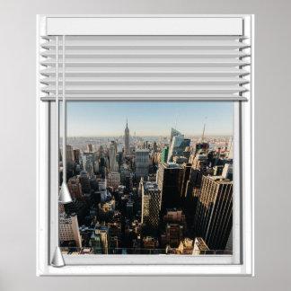 Pôster Janela da falsificação da opinião da Nova Iorque